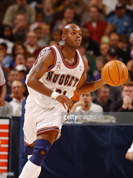 Nick Van Exel of the Denver Nuggets moves the ball upcourt against the Sacramento Kings at the Pepsi Center in Denver Colorado DIGITAL IMAGE Note to...