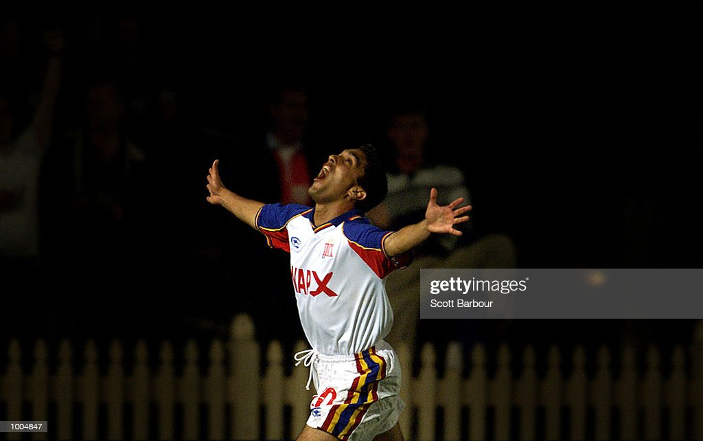 Pablo Cardozo #10 of Northern Spirit celebrates after scoring a goal during the round 6 NSL match between Northern Spirit and South Melbourne played at North Sydney Oval in Sydney, Australia. Northern Spirit defearted South Melbourne 1-0. DIGITAL IMAGE. Mandatory Credit: Scott Barbour/ALLSPORT