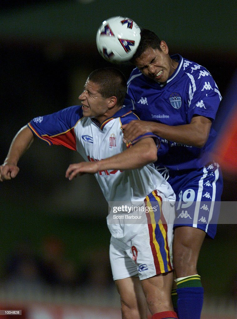 Patrick Kisnorbo (right) #19 of South Melbourne and Adrian Cervinski #9 of Northern Spirit compete for the ball during the round 6 NSL match between Northern Spirit and South Melbourne played at North Sydney Oval in Sydney, Australia. DIGITAL IMAGE. Mandatory Credit: Scott Barbour/ALLSPORT