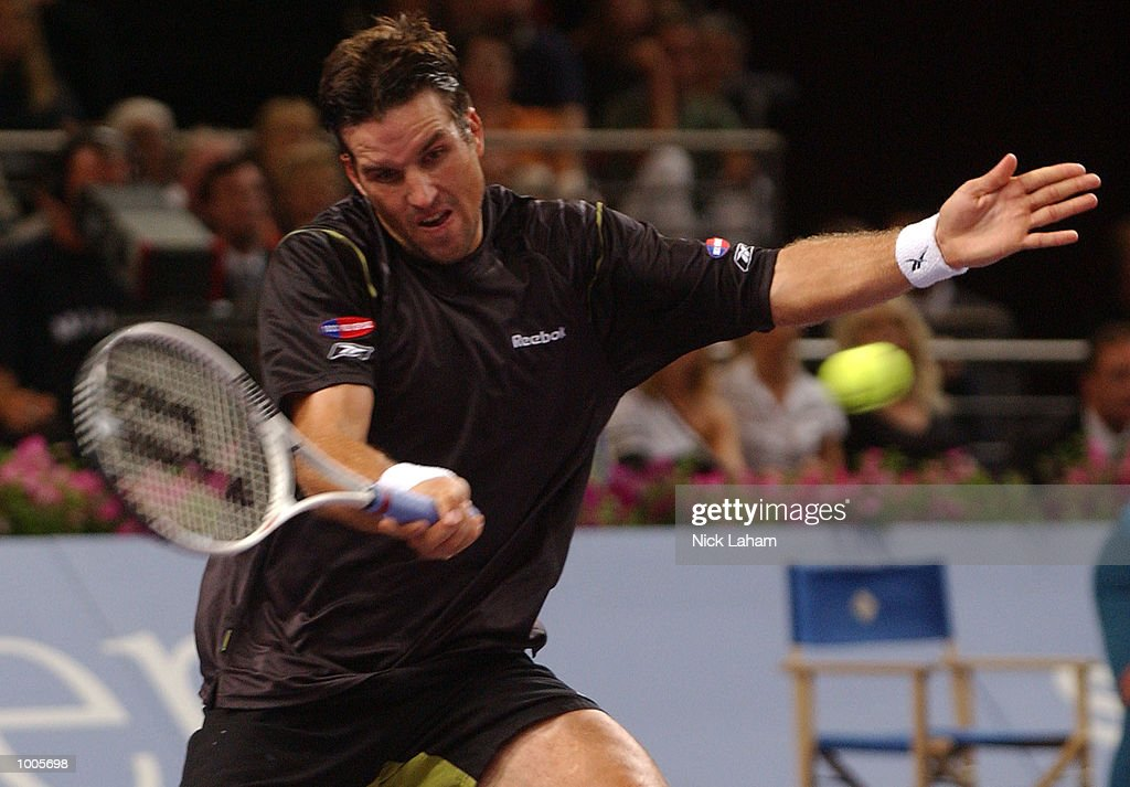 Patrick Rafter of Australia in action during his match against Sabastien Grosjean of France during the Tennis Masters Cup held at the Sydney Superdome, Sydney, Australia. DIGITAL IMAGE Mandatory Credit: Nick Laham/ALLSPORT