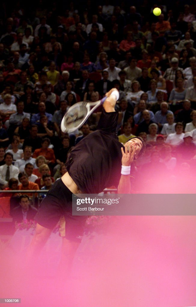 Patrick Rafter of Australia in action during his match against Sebastien Grosjean of France during day three of the Tennis Masters Cup held at the Sydney Superdome in Sydney, Australia. DIGITAL IMAGE. Mandatory Credit: Scott Barbour/ALLSPORT