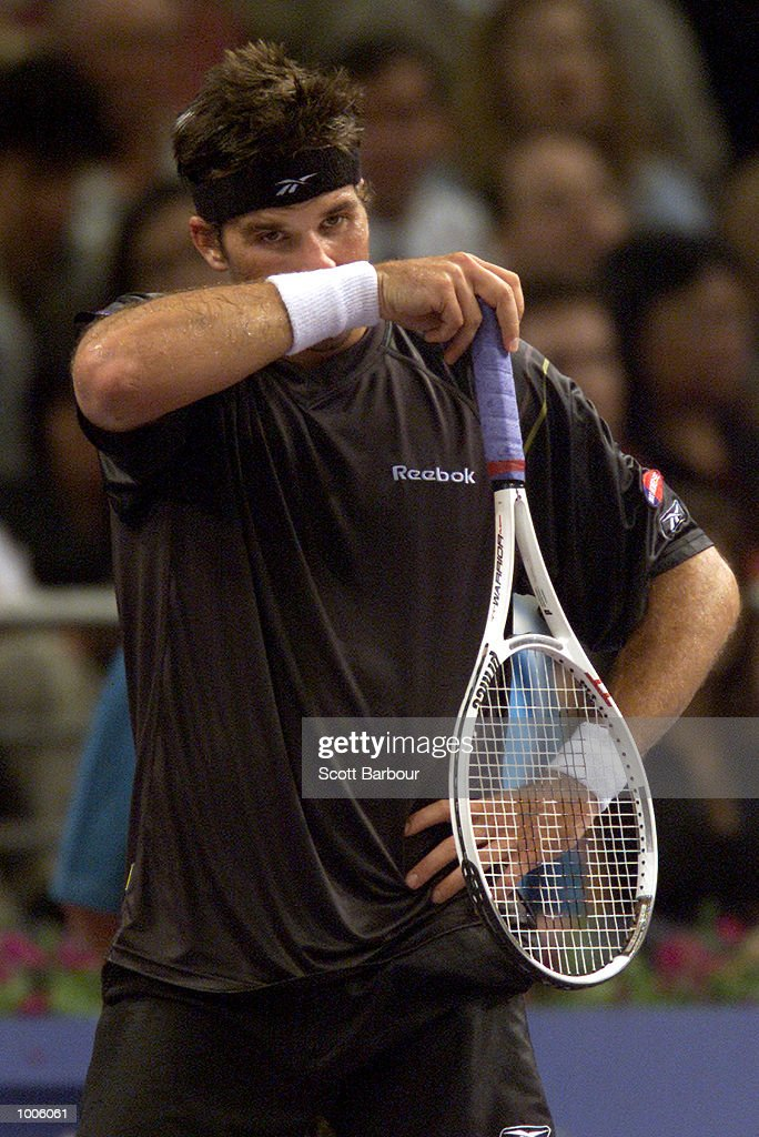 Patrick Rafter of Australia is dejected during his loss to Lleyton Hewitt of Australia during pool play of the Tennis Masters Cup held at the Sydney Superdome in Sydney, Australia. DIGITAL IMAGE. Mandatory Credit: Scott Barbour/ALLSPORT