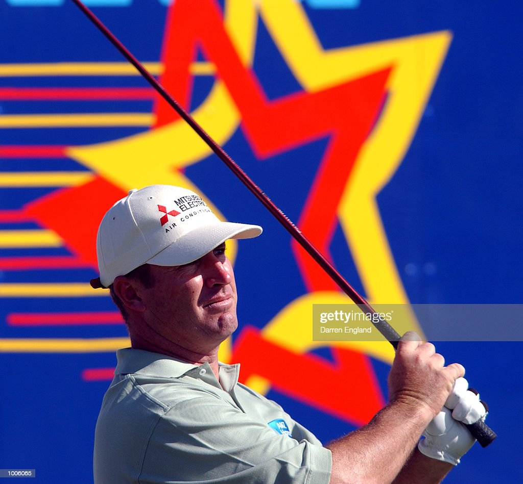 Peter Lonard of Australia in action off the 18th tee during the third round of the Australian PGA Championship being played at Royal Queensland Golf Club in Brisbane, Australia. DIGITAL IMAGE. Mandatory Credit: Darren England/ALLSPORT