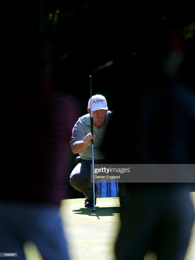 Peter Lonard of Australia lines up a putt on the 16th green during the third round of the Australian PGA Championship being played at Royal Queensland Golf Club in Brisbane, Australia. He finished his round at ten under par. DIGITAL IMAGE. Mandatory Credit: Darren England/ALLSPORT