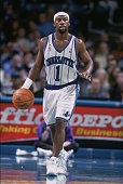Point guard Baron Davis of the Charlotte Hornets dribbles the ball during the NBA game against the Orlando Magic at TD Waterhouse Centre in Orlando...
