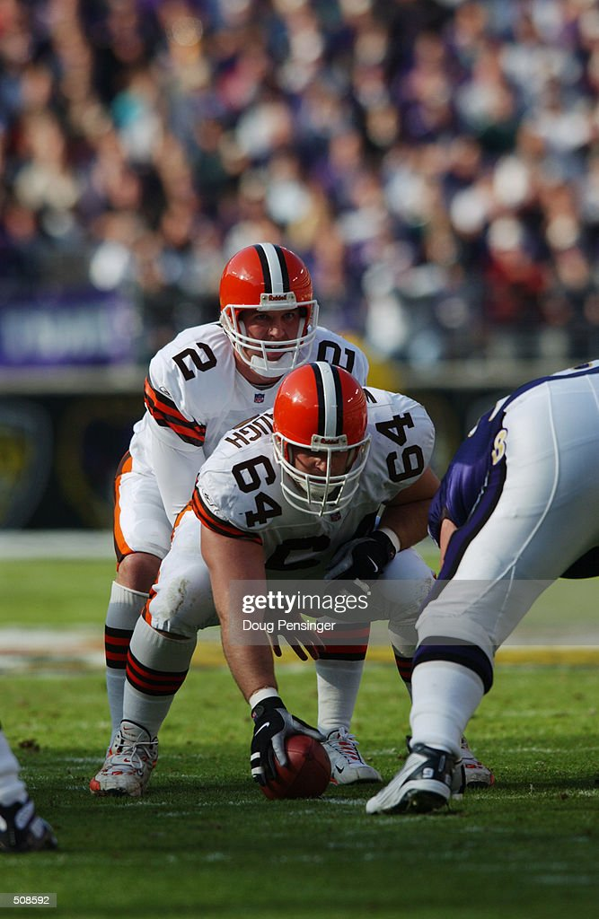 Quarterback Tim Couch #2 of the Cleveland Browns prepares to receive a hand off from Dave Wohlabaugh #64 during the game against the Baltimore Ravens at PSINet Stadium in Baltimore, Maryland. The Browns won 27-17. DIGITAL IMAGE. Mandatory Credit: Doug Pensinger/Allsport