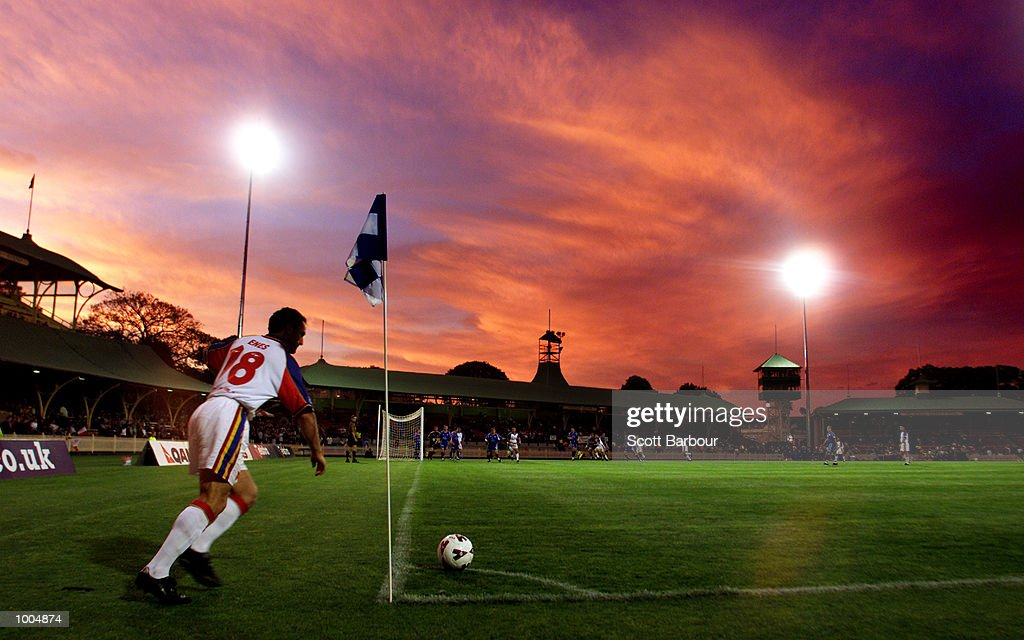 Robbie Enes #18 of Northern Spirit takes a corner kick during the round 6 NSL match between Northern Spirit and South Melbourne played at North Sydney Oval in Sydney, Australia. Northern Spirit defearted South Melbourne 1-0. DIGITAL IMAGE.Mandatory Credit: Scott Barbour/ALLSPORT