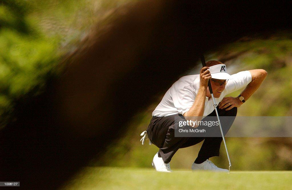 Robert Allenby of Australia lines up a putt during the third round of the Australian PGA Championships being played at Royal Queensland Golf Club, Brisbane, Australia. DIGITAL IMAGE Mandatory Credit: Chris McGrath/ALLSPORT