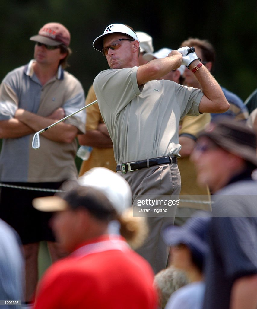 Robert Allenby of Australia tees off from the 11th tee during the second round of the Australian PGA Championship being played at Royal Queensland Golf Club in Brisbane, Australia. He finished his round at ten under par. DIGITAL IMAGE. Mandatory Credit: Darren England/ALLSPORT