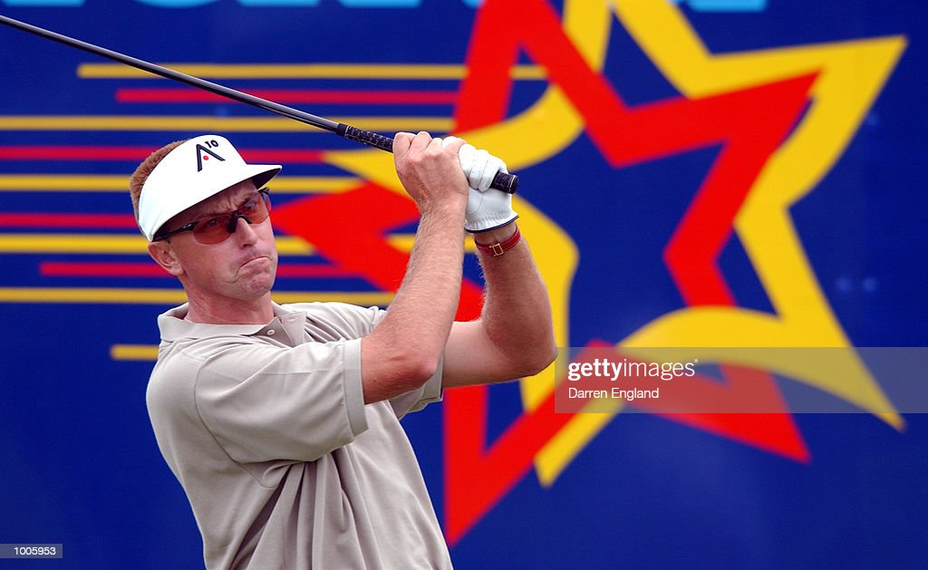 Robert Allenby of Australia tees off from the 18th tee during the second round of the Australian PGA Championship being played at Royal Queensland Golf Club in Brisbane, Australia. He finished his round at ten under par. DIGITAL IMAGE. Mandatory Credit: Darren England/ALLSPORT