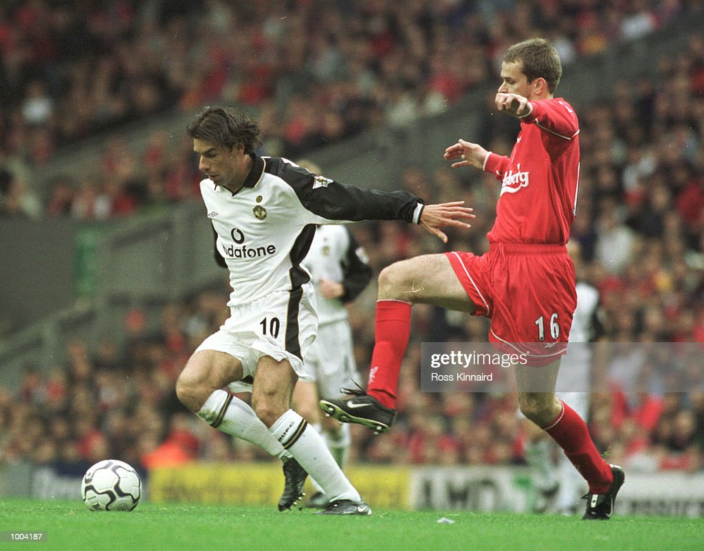 Ruud Van Nistelrooy of Manchester United holds off Dietmar Hamann of Liverpool during the FA Barclaycard Premiership game between Liverpool and Manchester United at Anfield, Liverpool. Mandatory Credit: Ross Kinnaird/ALLSPORT