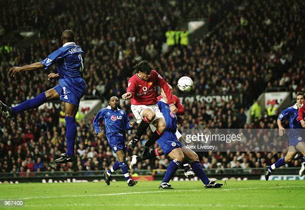Ruud van Nistelrooy of Manchester United scores the opening goal of the game during the FA Barclaycard Premiership match against Leicester City...