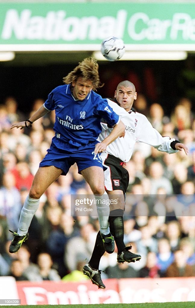 Sam Dalla Bona of Chelsea and Jermaine Wright of Ipswich Town in action during the FA Barclaycard Premiership match between Chelsea and Ipswich Town at Stamford Bridge, London. Mandatory Credit: Phil Cole/ALLSPORT