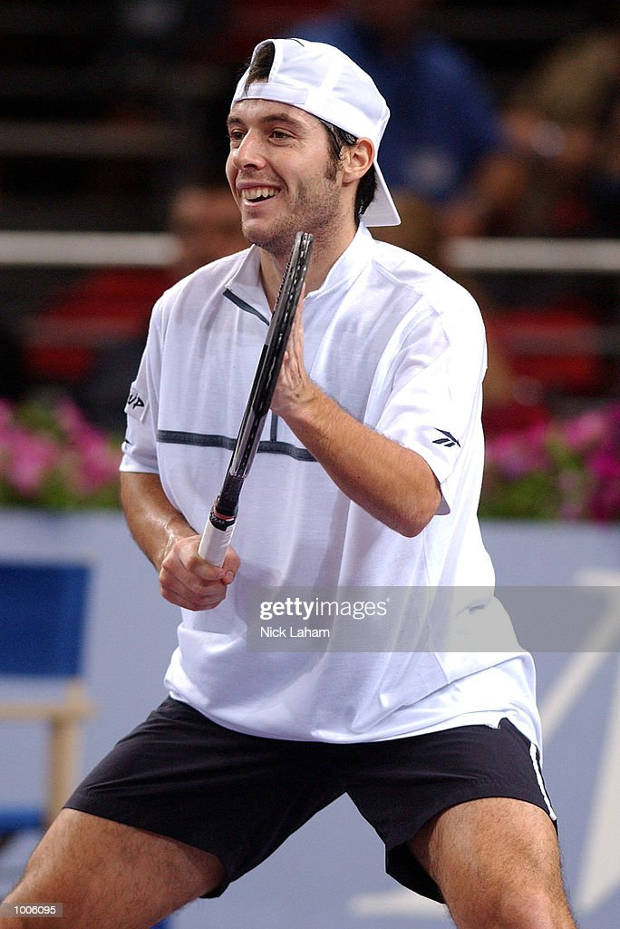 Sebastien Grosjean of France acknowledges a shot by Yevgeny Kafelnikov of Russia during the first semi final at the Tennis Masters Cup held at the Sydney Superdome, Sydney, Australia. DIGITAL IMAGE Mandatory Credit: Nick Laham/ALLSPORT