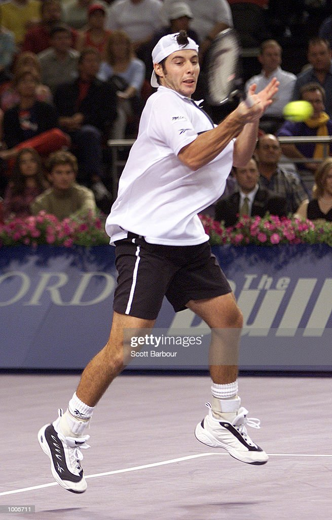 Sebastien Grosjean of France in action during his victory over Patrick Rafter of Australia during day three of the Tennis Masters Cup held at the Sydney Superdome in Sydney, Australia. DIGITAL IMAGE. Mandatory Credit: Scott Barbour/ALLSPORT