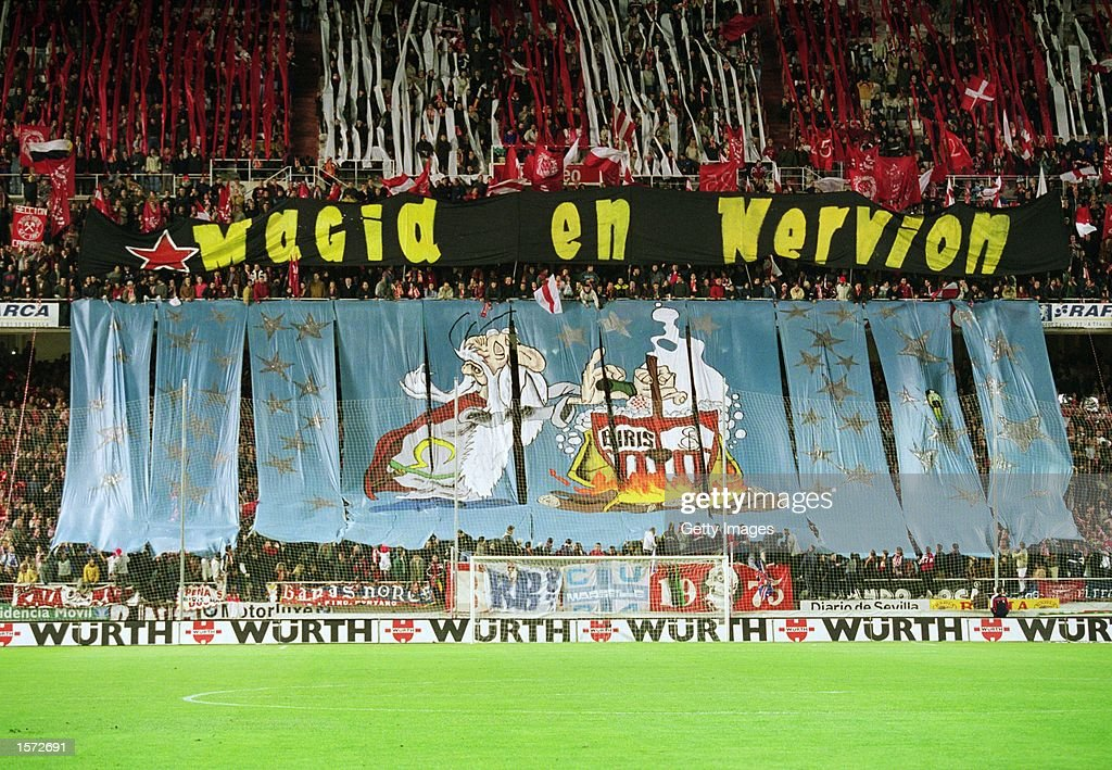 Sevilla fans during the Spanish Primera Liga match against Real Betis played at the Sanchez Pizjuan Stadium in Seville Spain The match ended in a 00...
