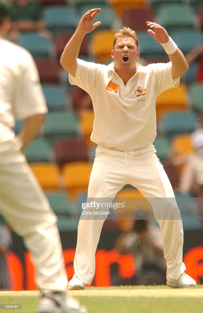Shane Warne of Australia in action during day four of the first cricket test between Australia and New Zealand held at the Gabba, Brisbane, Australia, DIGITAL IMAGE Mandatory Credit: Chris McGrath/ALLSPORT