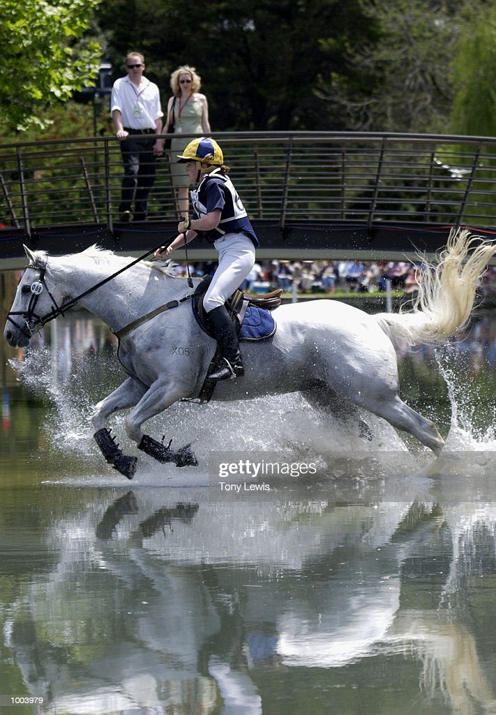 Sharon Simpson of Australia on Shining Armour in action at the water jump in the cross-country section of the Adelaide International Horse trials held at Victoria Park in Adelaide, Australia. DIGITAL IMAGE. Mandatory Credit: Tony Lewis/ALLSPORT