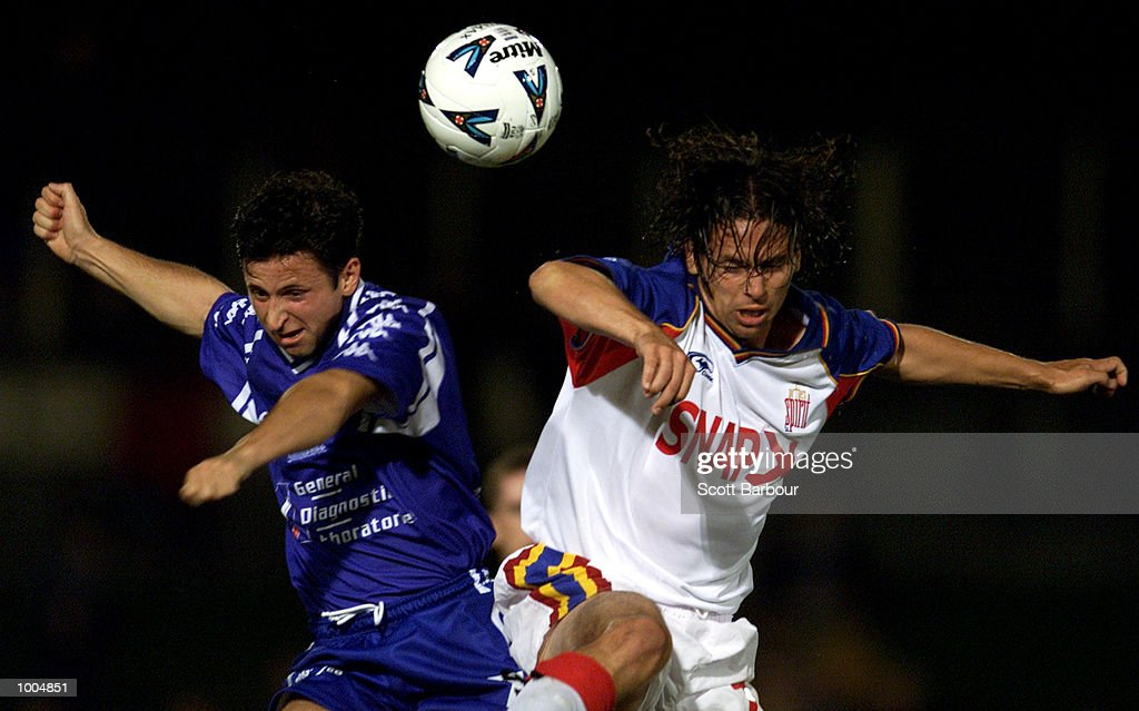 Steve Panopoulos (left) #7 of South Melbourne #7 and Andrew McDermott #7 of Northern Spirit compete for the ball during the round 6 NSL match between Northern Spirit and South Melbourne played at North Sydney Oval in Sydney, Australia. Northern Spirit defearted South Melbourne 1-0. DIGITAL IMAGE. Mandatory Credit: Scott Barbour/ALLSPORT