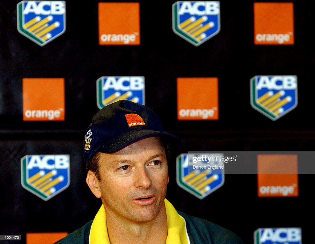 Steve Waugh (captain) of Australia talks to the media during a press conference before the First Cricket Test against New Zealand. The press conference was held at the Gabba in Brisbane, Australia. DIGITAL IMAGE. Mandatory Credit: Darren England/ALLSPORT