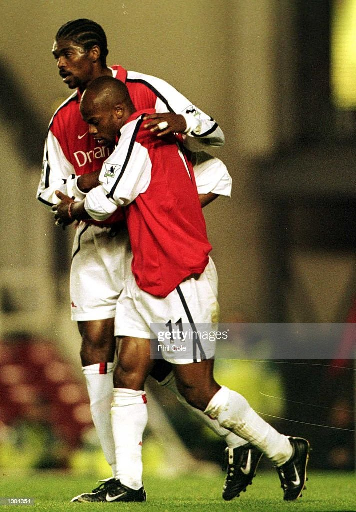 Sylvain Wiltord of Arsenal celebrates scoring his 2nd goal during the Worthington Cup, Third Round match between Arsenal and Manchester United at Highbury, London. Mandatory Credit: Phil Cole/ALLSPORT
