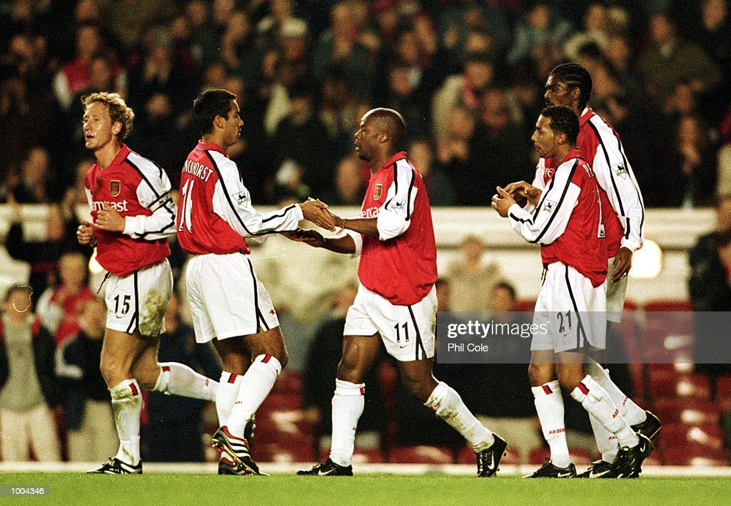 Sylvain Wiltord of Arsenal celebrates scoring the first goal during the Worthington Cup, Third Round match between Arsenal and Manchester United at Highbury, London. Mandatory Credit: Phil Cole/ALLSPORT
