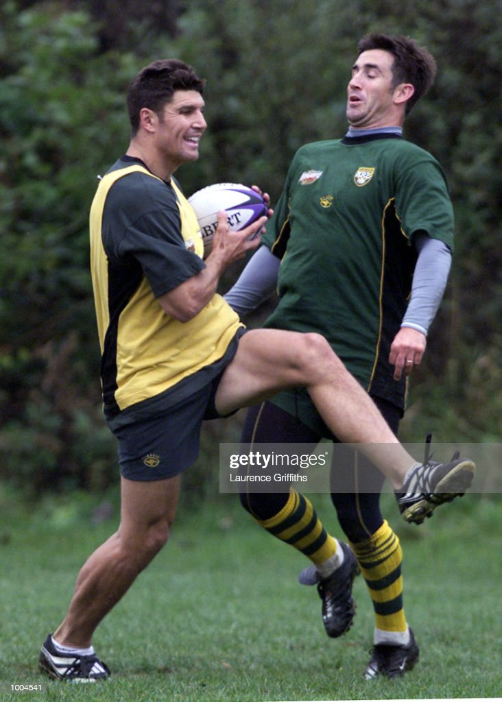Trent Barrett of Australia out jumps Andrew Johns during their first training session at Kirkstall Rugby ground in Leeds. DIGITAL IMAGE. Mandatory Credit: Laurence Griffiths/ALLSPORT