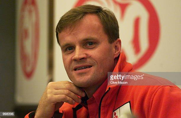 World Rally Championship contender Tommi Makinen of Finland and Mitsubishi talks to the media during the prerally press conference for the Network Q...