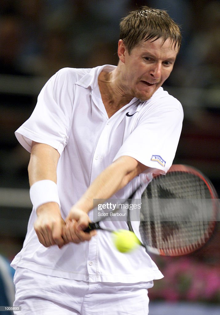 Yevgeny Kafelnikov of Russia in action during his match against Goran Ivanisevic of Croatia during day four of the Tennis Masters Cup held at the Sydney Superdome in Sydney, Australia. DIGITAL IMAGE. Mandatory Credit: Scott Barbour/ALLSPORT