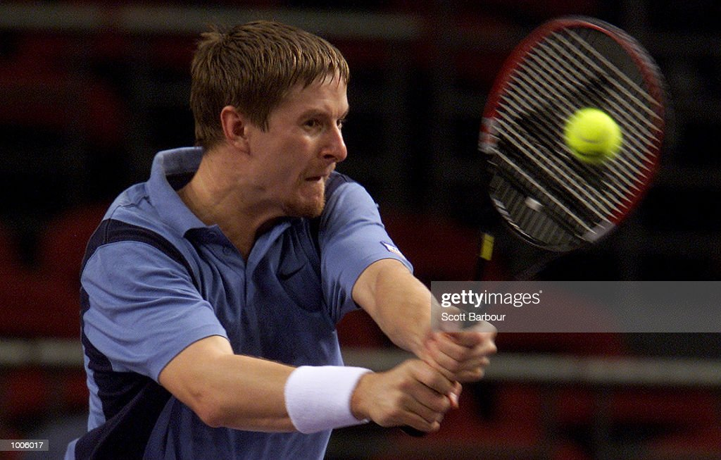 Yevgeny Kafelnikov of Russia in action during his match against Gustavo Kuerten of Brazil during pool play of the Tennis Masters Cup held at the Sydney Superdome in Sydney, Australia. DIGITAL IMAGE. Mandatory Credit: Scott Barbour/ALLSPORT