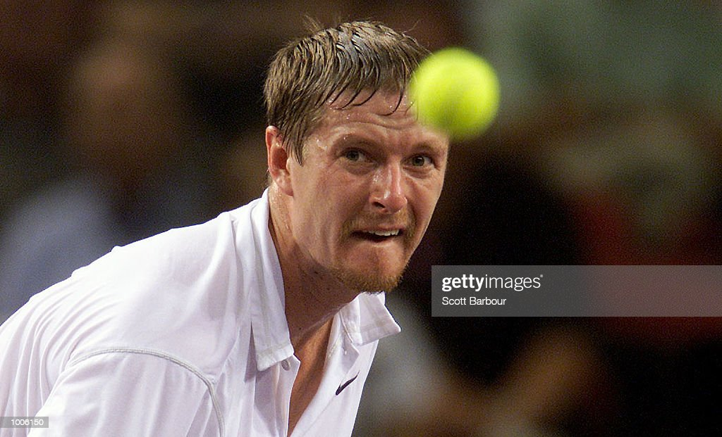 Yevgeny Kafelnikov of Russia in action during his semi final match against Sebastien Grosjean of France during the Tennis Masters Cup held at the Sydney Superdome in Sydney, Australia. DIGITAL IMAGE. Mandatory Credit: Scott Barbour/ALLSPORT