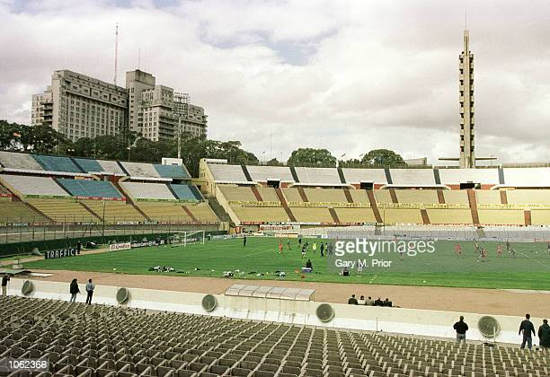 A general view of Australian training at the Estadio Centenario prior to the Uruguay v Australia Worl Cup playoff second leg at the Estadio...