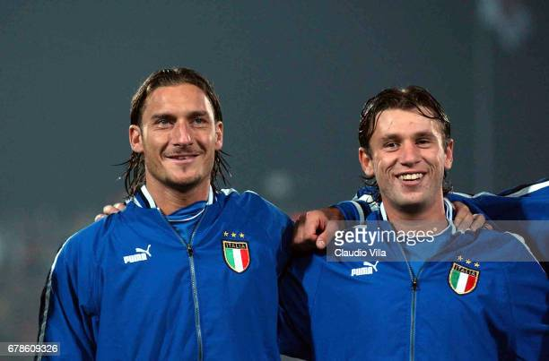 Francesco Totti and Antonio Cassano of Italy during the international friendly match played between ITALIA and ROMANIA at Del Conero stadium in Ancona