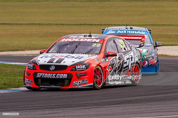 James Courtney of the Holden Racing Team leads Mark Winterbotom of the Pepsi Max Crew through the corner during Race 1 for the V8 Supercars WD40...