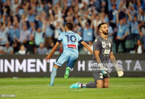 Milos Ninkovic of Sydney FC goals during the FFA Cup Final between Sydney FC and Adelaide United in Sydney Australia Nov 21 2017 Sydney FC won 21 to...