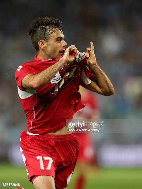 Nikola Mileusnic of Adelaide United celebrate scoring during the FFA Cup Final between Sydney FC and Adelaide United in Sydney Australia Nov 21 2017...