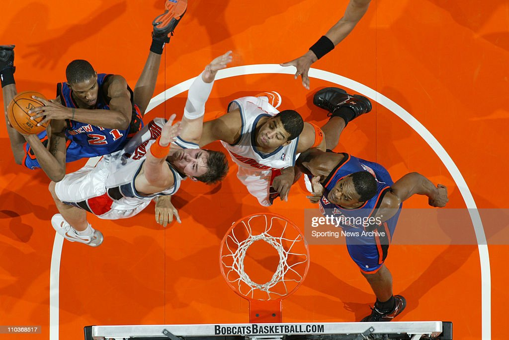 Nov 23, 2005; Charlotte, NC, USA; The New York Knicks TREVOR ARIZA and ANTONIO DAVIS against the Charlotte Bobcats PRIMOZ BREZEC and SEAN MAY on Nov. 23, 2005 at the Charlotte Bobcats Arena in Charlotte, NC. The Bobcats won 108-95.