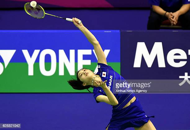 KONG Nov 23 2016 Aya Ohori of Japan returns the shuttle during the women's first round match against Lee Chia Hsin of Chinese Taipei at the 2016 Hong...