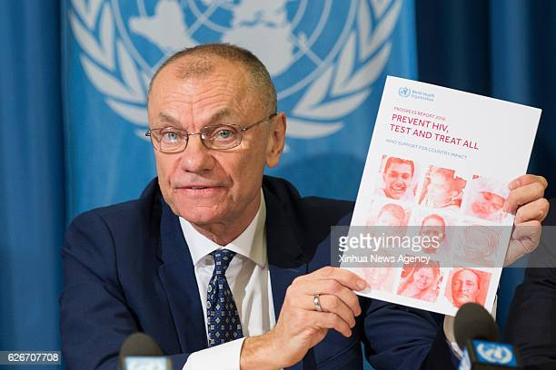 GENEVA Nov 29 2016 Gottfried Hirnschall director of the World Health Organization's Department of HIV and Global Hepatitis Programme shows a new...