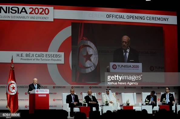 TUNIS Nov 29 2016 Tunisian President Beji Caid Essebsi gives a speech during the 'Tunisia 2020' Conference on Investment in the Congress Palace in...