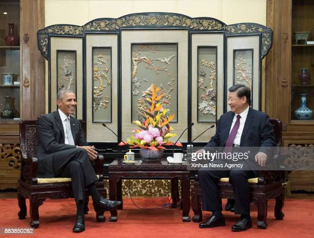 BEIJING Nov 30 2017 Chinese President Xi Jinping meets with former US President Barack Obama in Beijing capital of China Nov 29 2017