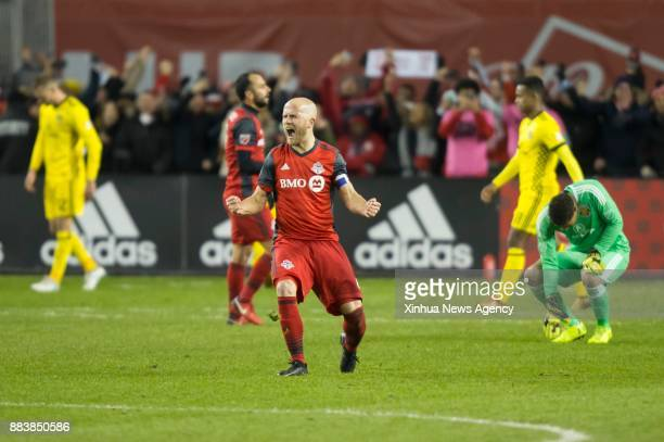 TORONTO Nov 30 2017 Michael Bradley of Toronto FC celebrates victory after the Eastern Conference final second leg match of the 2017 Major League...