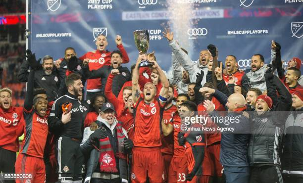 TORONTO Nov 30 2017 Players of Toronto FC celebrate during the awarding ceremony after the Eastern Conference final second leg match of the 2017...