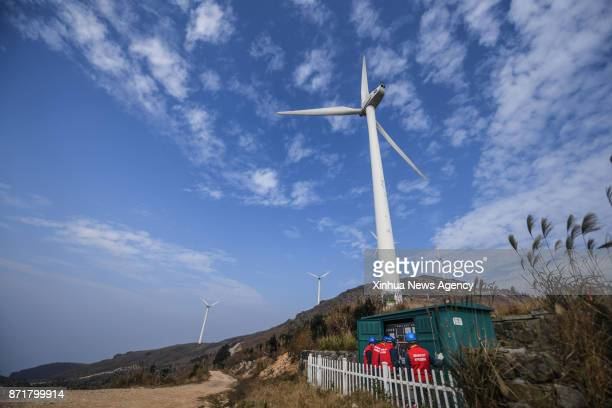 DONGYANG Nov 8 2017 Photo taken on Nov 8 2017 shows power distribution equipments at the Dongbaishan Wind Power Plant in Dongyang City east China's...