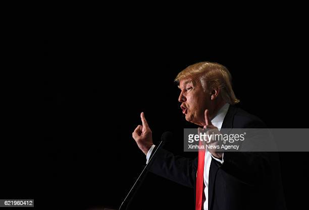 BEIJING Nov 9 2016 File photo taken on Feb 1 2016 shows Donald Trump speaking at a campaign rally in Cedar Rapids Iowa the United States Former real...
