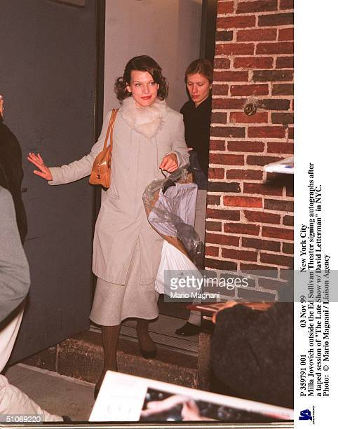 Nov 99 New York City Milla Jovovich Outside The Ed Sullivan Theater Signing Autographs After A Taped Session Of 'The Late Show W/ David Letterman' In...