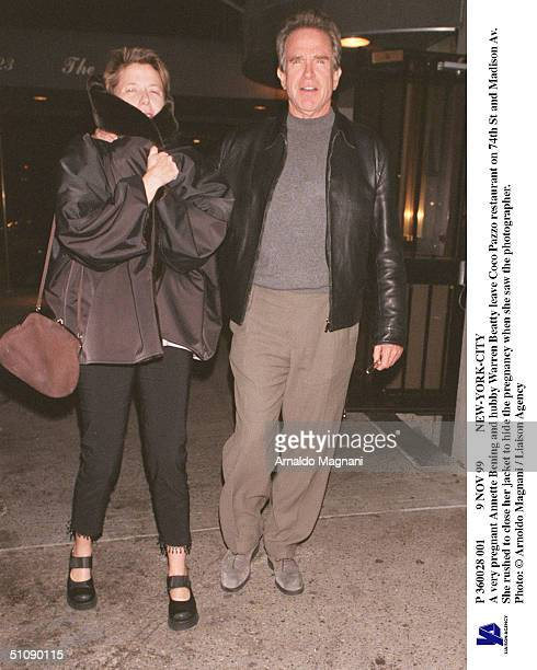 Nov 99 NewYorkCity A Very Pregnant Annette Bening And Hubby Warren Beatty Leave Coco Pazzo Restaurant On 74Th St And Madison Av She Rushed To Close...