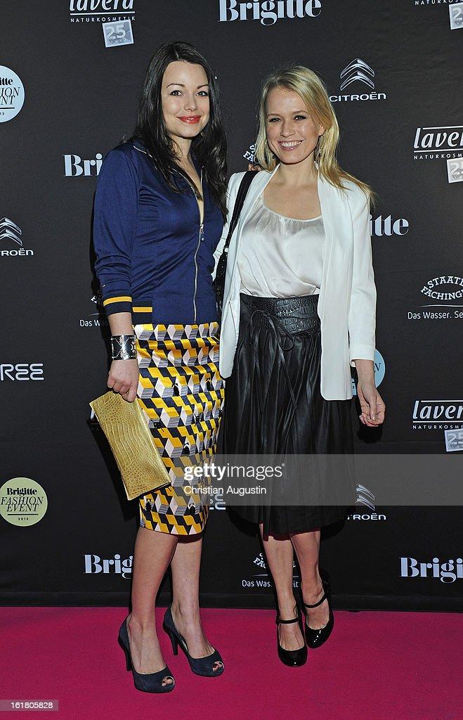 Nova Meierhenrich and Cosma Shiva Hagen attend Brigitte Fashion Event 2013 at Hamburg Cruise Center on February 16 2013 in Hamburg Germany