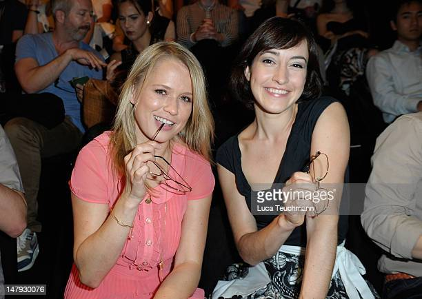Nova Meierhenrich and Maike von Bremen arrive for the Malaikaraiss Show during MercedesBenz Fashion Week Spring/Summer 2013 on July 6 2012 in Berlin...