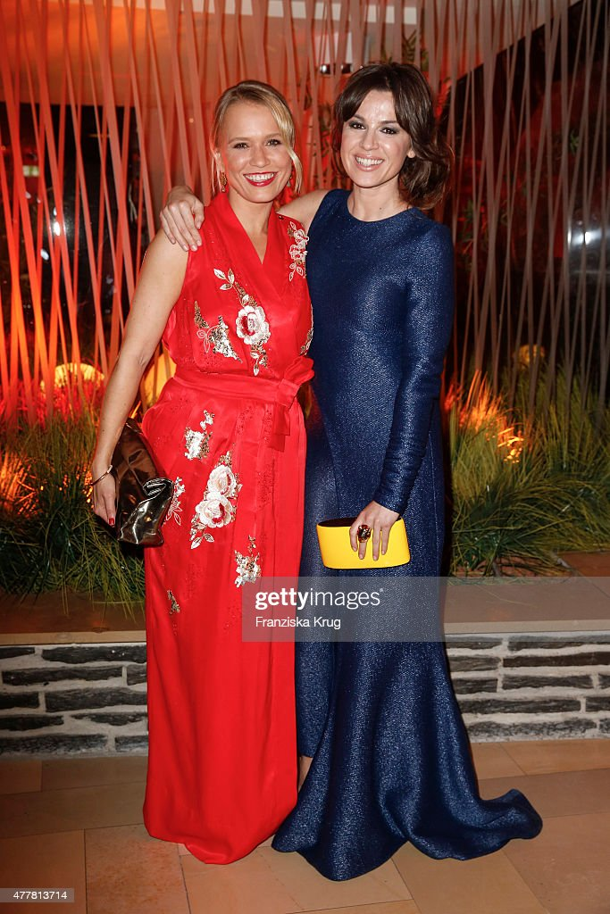 Nova Meierhenrich and Natalia Avelon attend the German Film Award 2015 Lola party at Palais am Funkturm on June 19 2015 in Berlin Germany